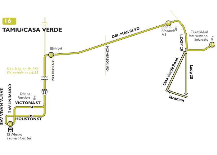 El Metro Laredo Tx Routes 16 Tamiu Casa Verde Bus