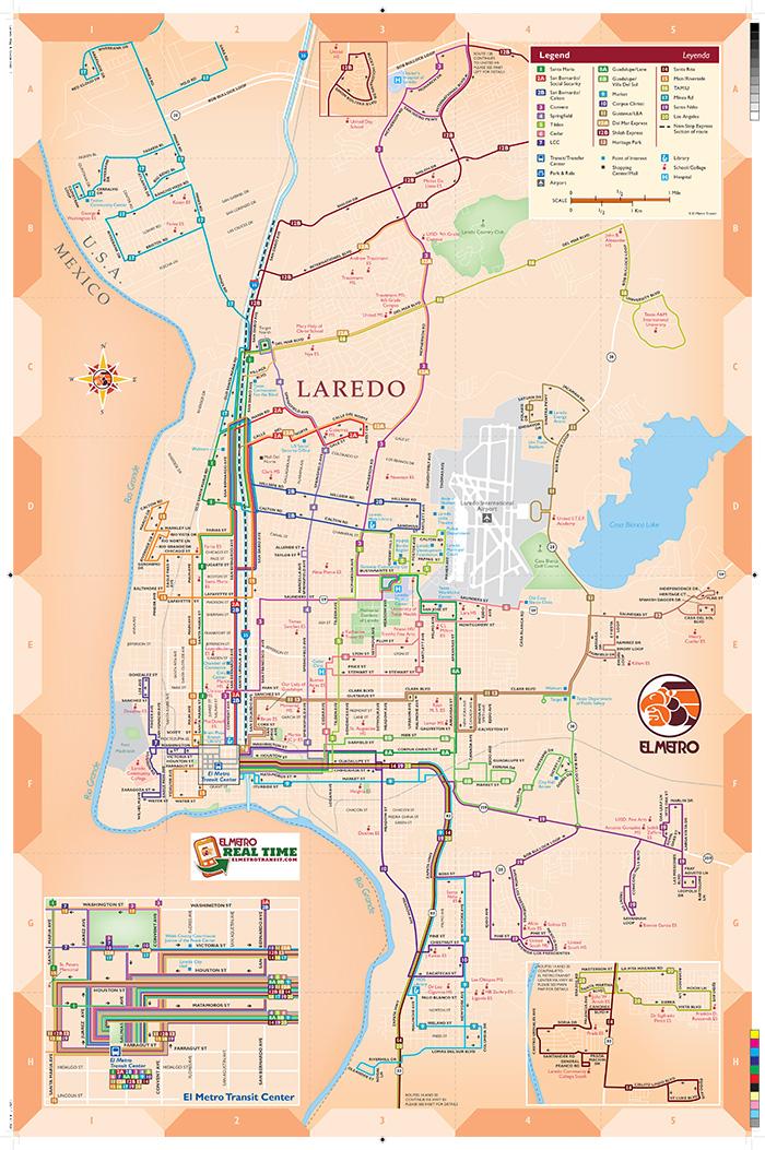 Map Of Texas Showing Laredo.System Map El Metro Transit
